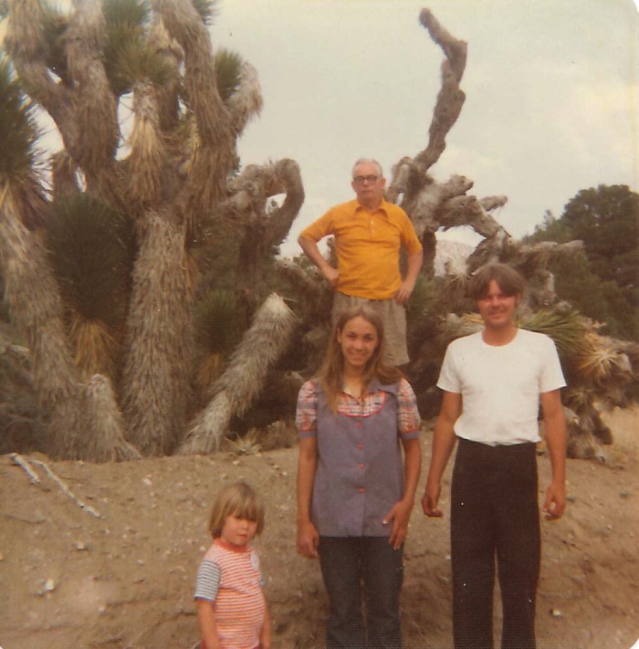 "With my grandfather Jim Fogarty, Mom, and her second husband Bob ""Sunshine"" Taylor at Joshua Tree, California, 1974."