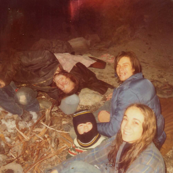 Camping with friends at hot springs near Mammoth, High Sierras, 1975.