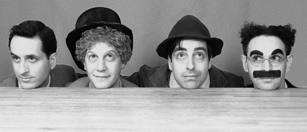 Top: Zeppo Marx, Harpo Marx, Chico Marx, and Groucho Marx, 1933. Bottom: Matt Walters, Seth Shelden, Matt Roper, and Noah Diamond, 2016 (Photo by Mark X Hopkins)