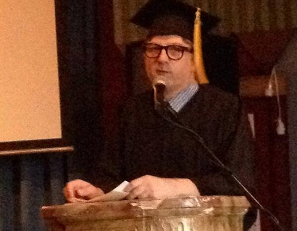 """Trav S.D. delivers his lecture """"From Angels to Anarchists: The Evolution of the Marx Brothers"""" at Coney Island USA."""