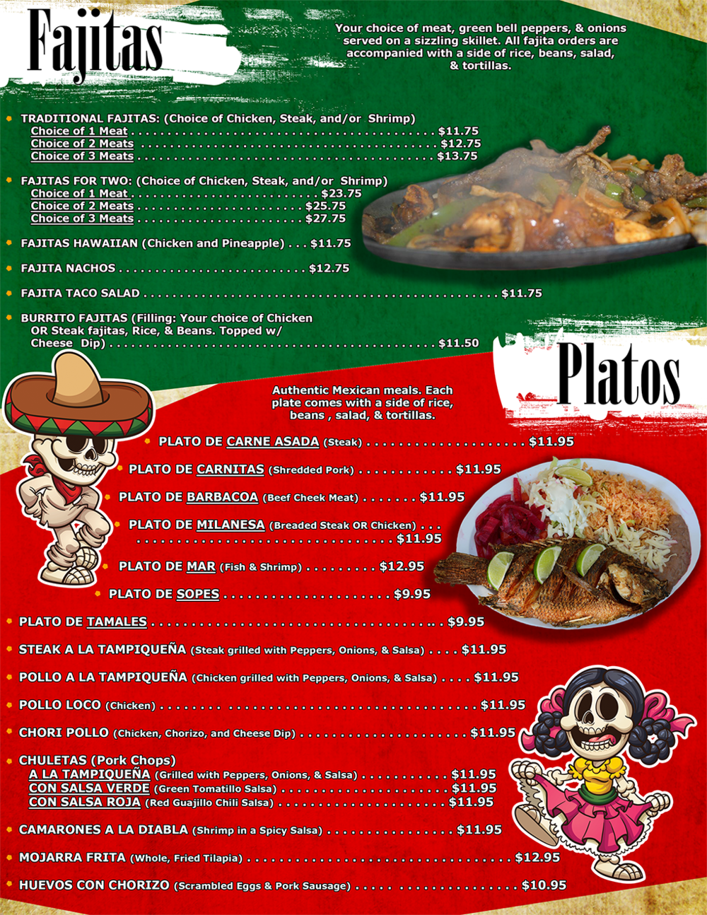 Fajitas and Platos