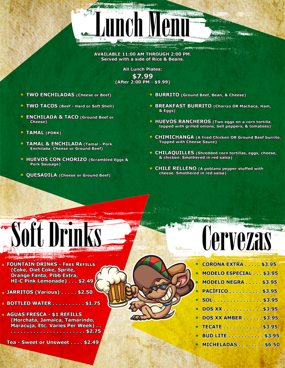 Lunch Menu, Soft Drinks, and Beer