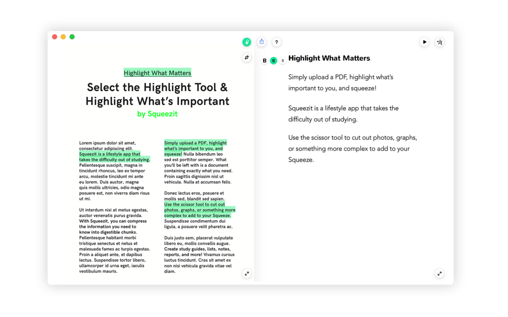 Highlight => Summary  - In Squeezit, we know that if you highlight something, it is important. So we save it in a separate document. That way, you can find it later easily!Squeezit, find it when you need it.