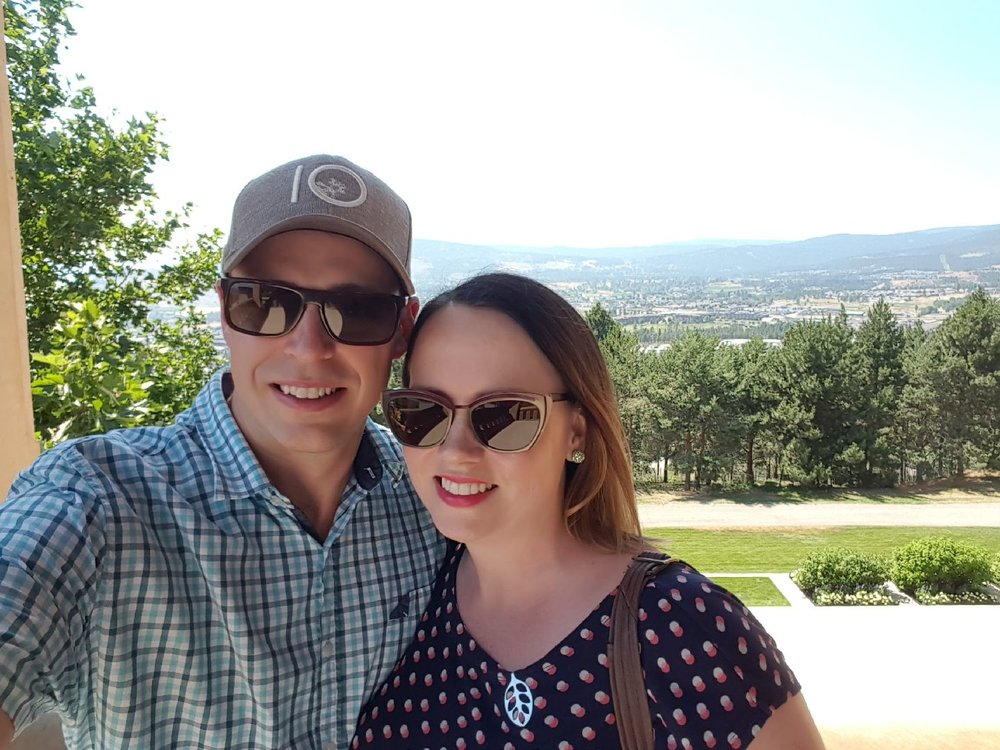 Andy and I at Mission Hill for a tour and our anniversary dinner in July 2017.