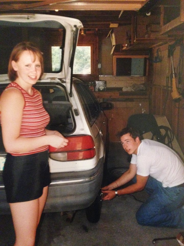 Andy (before he was my husband) and I in my mom's garage in 2001.