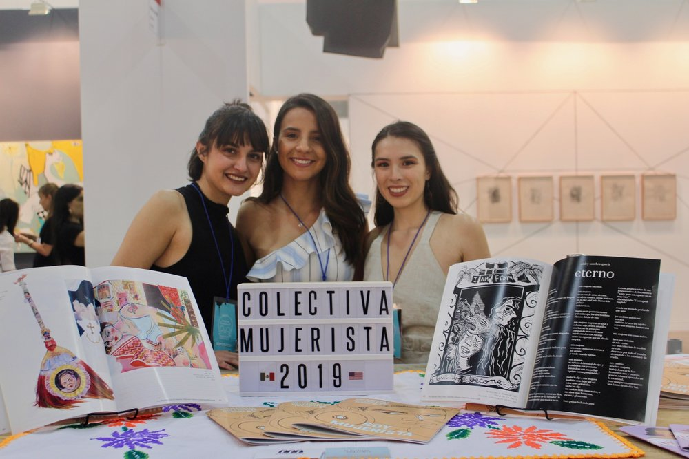 Left to right: Reza Moreno (editor), Denisse Jimenez (content producer), and Stephanie Aliaga (founder) at Zonamaco, Mexico City in February 2019.