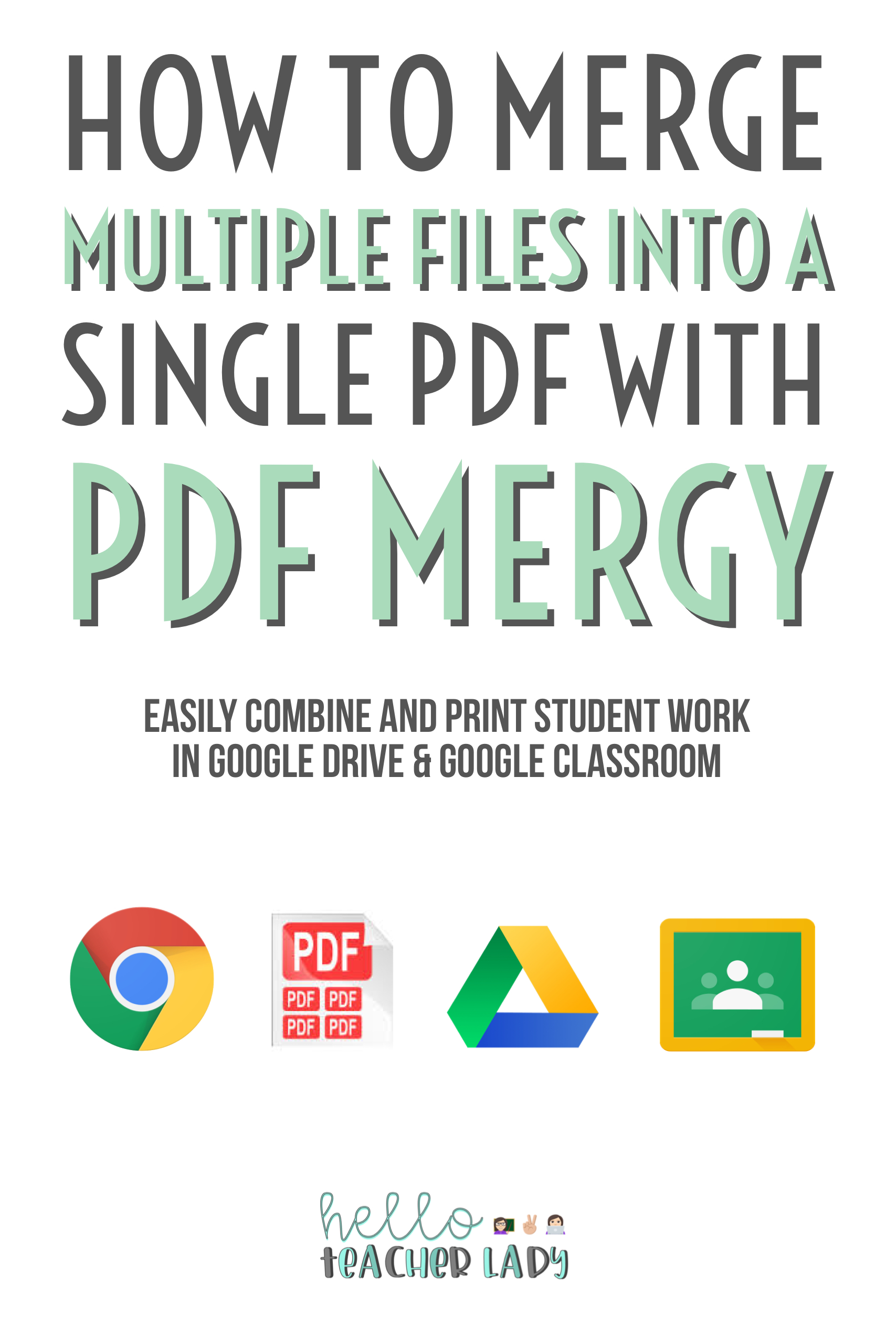 PDF Mergy is a Chrome extension that merges multiple files into a single PDF. This allows you to combine or print a batch of student work without having to open each individual file.