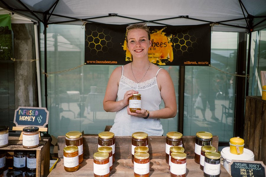 Local producer Hunnabees in Millbrook, beekeepers located 23 kilometres from the Peterborough Regional Farmers' Market, produces different varieties of natural honey, infused honey, and creamed honey as well as beeswax products. (Photo: Jenn Austin-Driver)