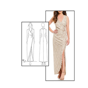 f5a9c668031 Gown with side tucks and high slit Fabric: Stretch Lace Color: Champagne
