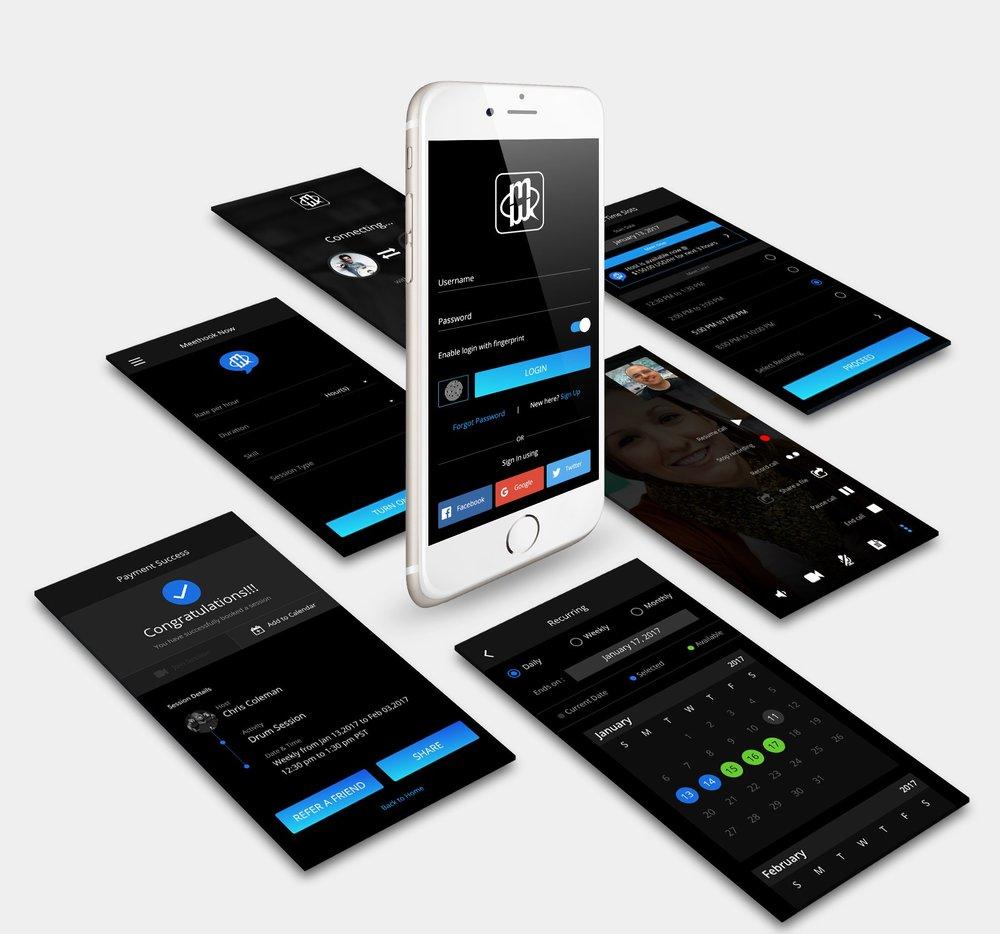 MeetHook app screens