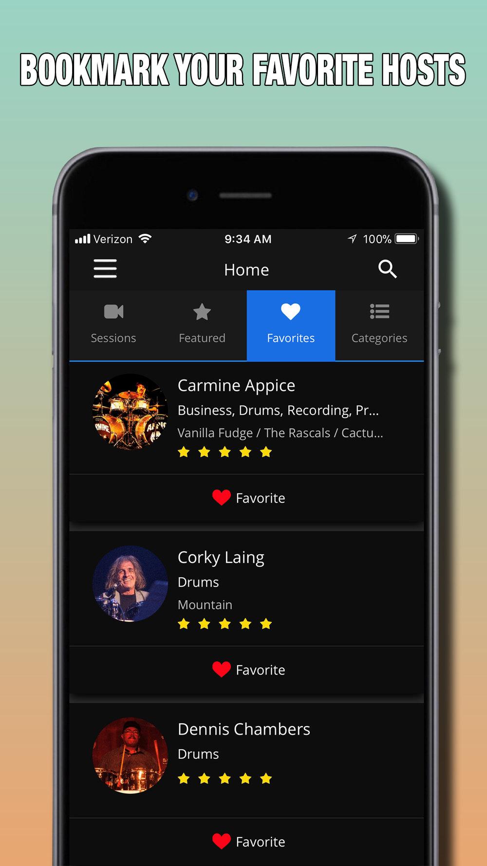 MeetHook Favorites screen