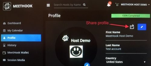 MeetHook Host Share Profile link