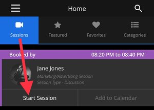 MeetHook – Sessions tab Start Session