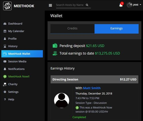 MeetHook Host Wallet Earnings