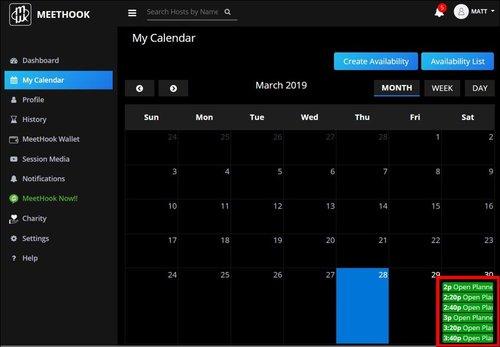 MeetHook – Calendar view