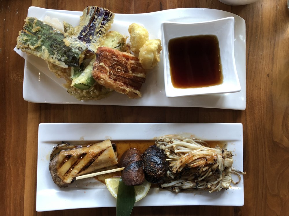 Tempura Plate & Grilled Mushrooms