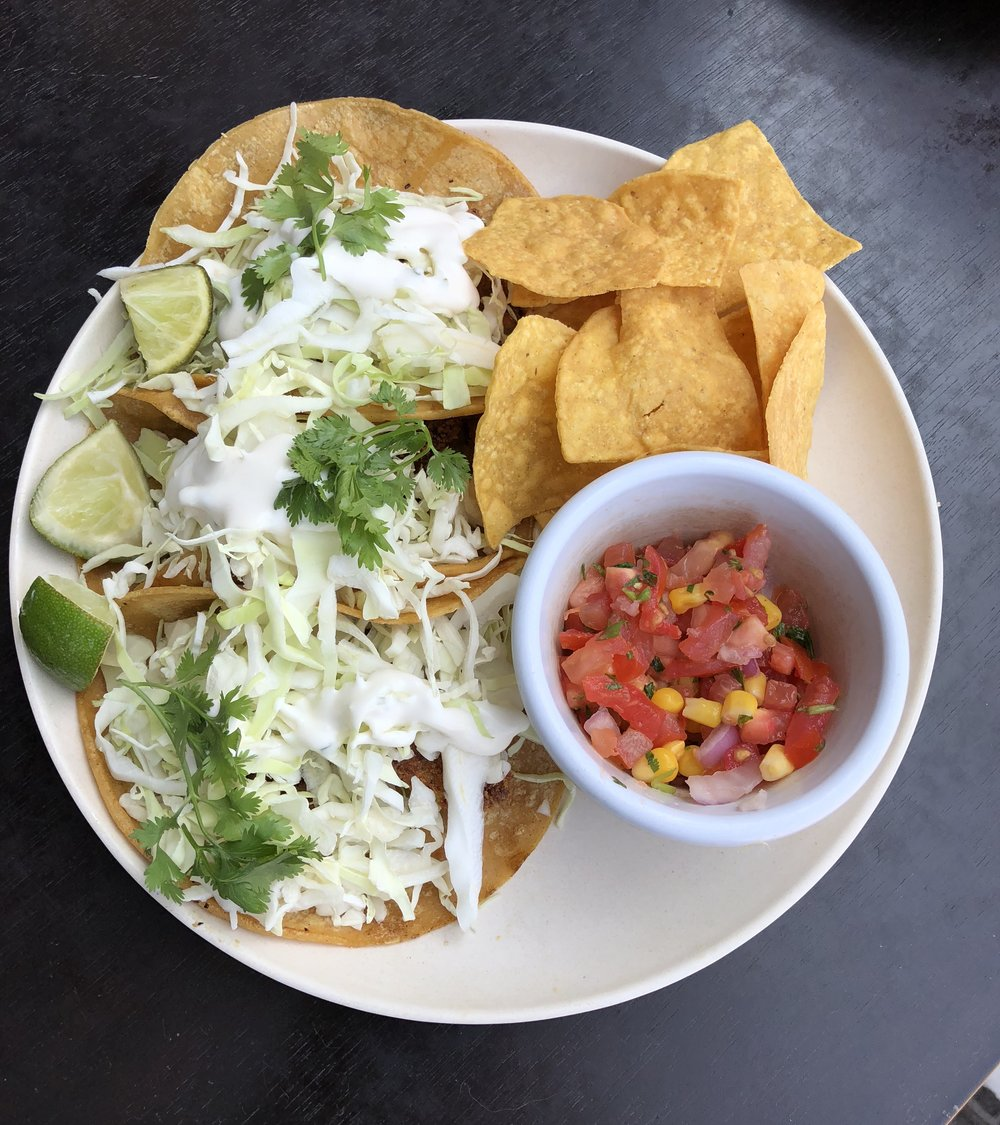 """My Tres """"Fish"""" Tacos plate"""