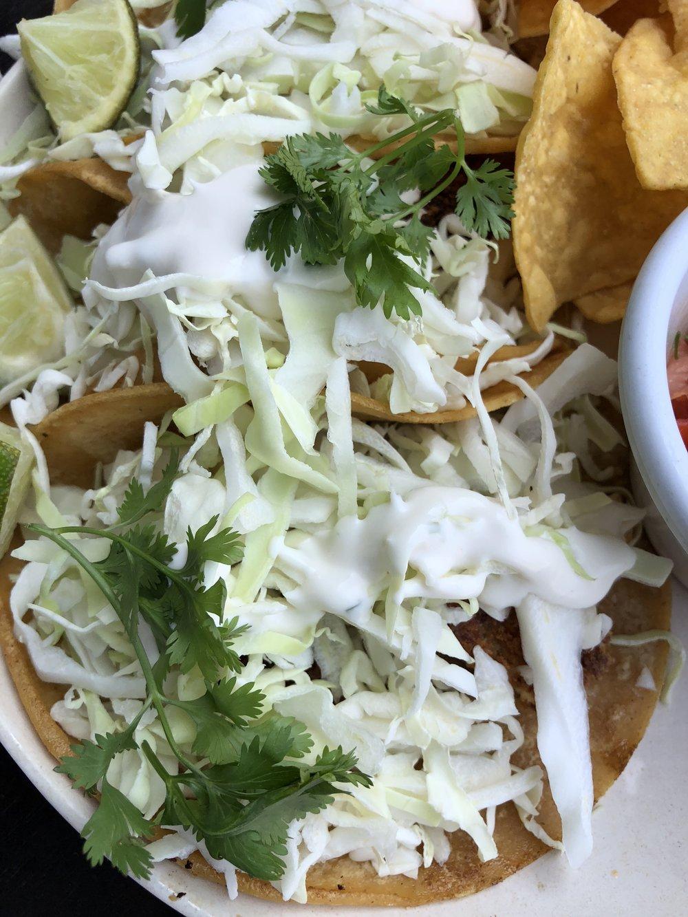"""Tres """"Fish"""" Tacos Closeup"""