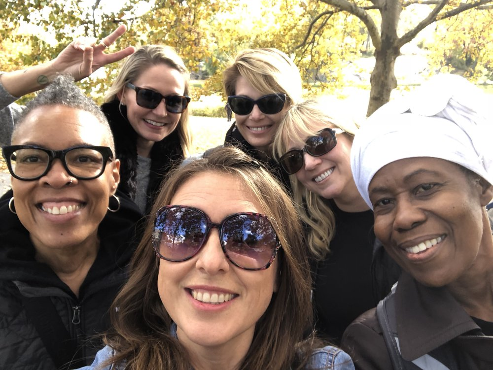 Having a stroll through Central Park after lunch, we decided to take a selfie. Clockwise from the left, Gail, Alissa, me, Shelly, Leonie, and Heather in front. Great memories!