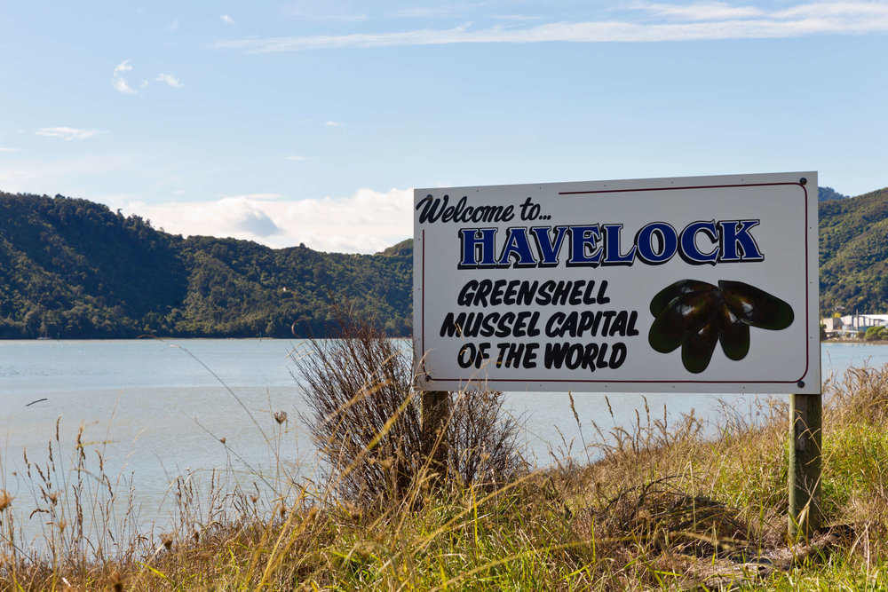 OmegaFlex® - Welcome to Havelock, Green Shell Mussel Capital of the World road sign