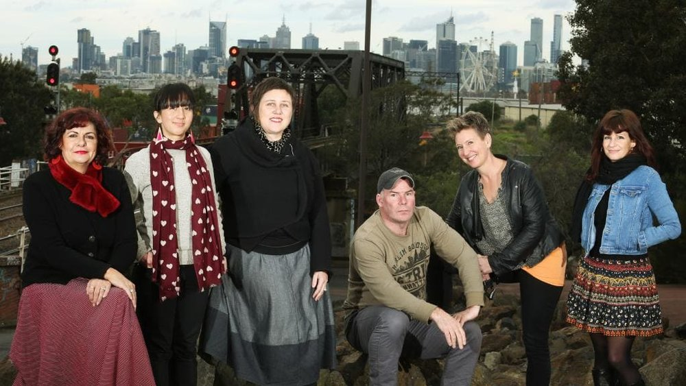 IMAGE: Arts West is an alliance of arts organisations. Pictured at Footscray Arts Centre are from left : Jane Chisholm (Big West), Jessica Tran (100 Story Building), Jade Lillie ( Footscray Community Arts Centre), Andy Howitt (Ausdance Victoria) Liss Grabb (Cohealth Arts Generation) and Georgina Ross (Snuff Puppets).