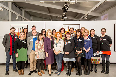 Image:   Minister for the Arts, Heidi Victoria MP (centre) with Representatives of Arts West – photo by Mathew Lynn