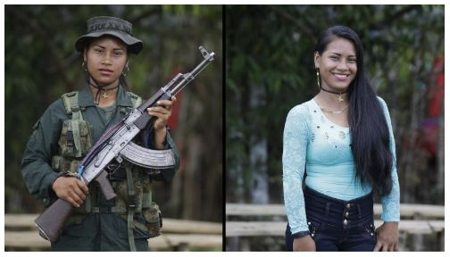 Former FARC guerilla pregnant and in civilian clothes at the eve of peace. Source:  qz.com