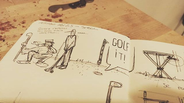 @inktober #ADSinktober Day 24: Stool 🚀 Inspiration #golfitgame: quand tu attends que tes potes jouent... Une pince à club pour tabouret pliant . #inktober #inktober2018 #adsinktober #advanceddesign #ads #sketchbook #moleskine #sketch #design #blackandwhite #drawing #designprocess #ideation #idea #thinkingbydrawing #stool #golf #golfit #chair #chill #waiting