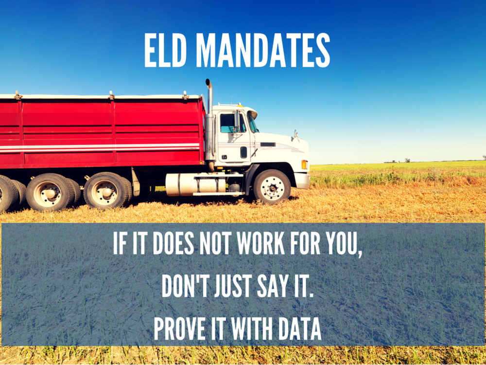 We all know that the  FMCSA mandate  on installing Electronic Logging Devices (ELD) in trucks does not suit many industries, in its current form.