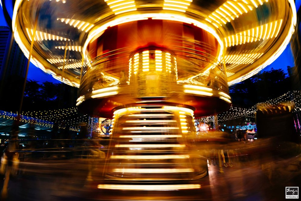 No snow here during Christmas, just trails of light on Orchard road of Singapore. This year… a carousel.  Orchard Road, Singapore, 2018  Photographed By KC Eng