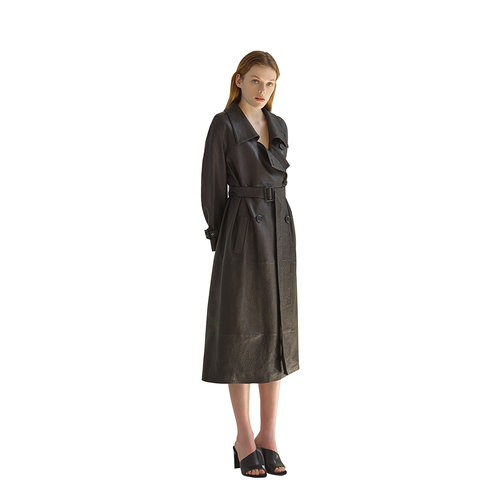 30104cf9 SUKI's TEXTURED LEATHER TRENCH COAT