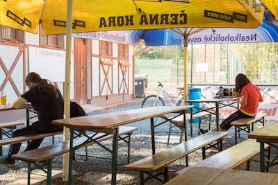 Grab some refreshment at the Tennis Cafe in Lužánky Park