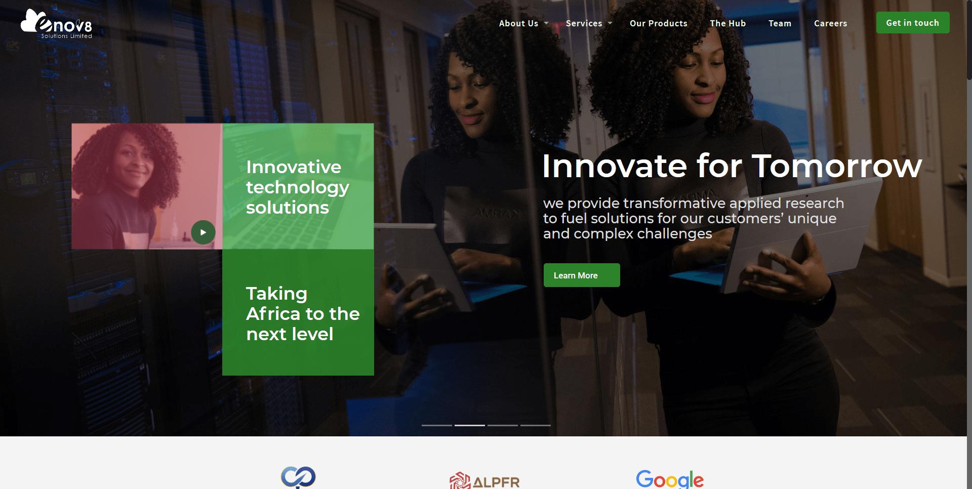 Enov8 Solutions website screenshot
