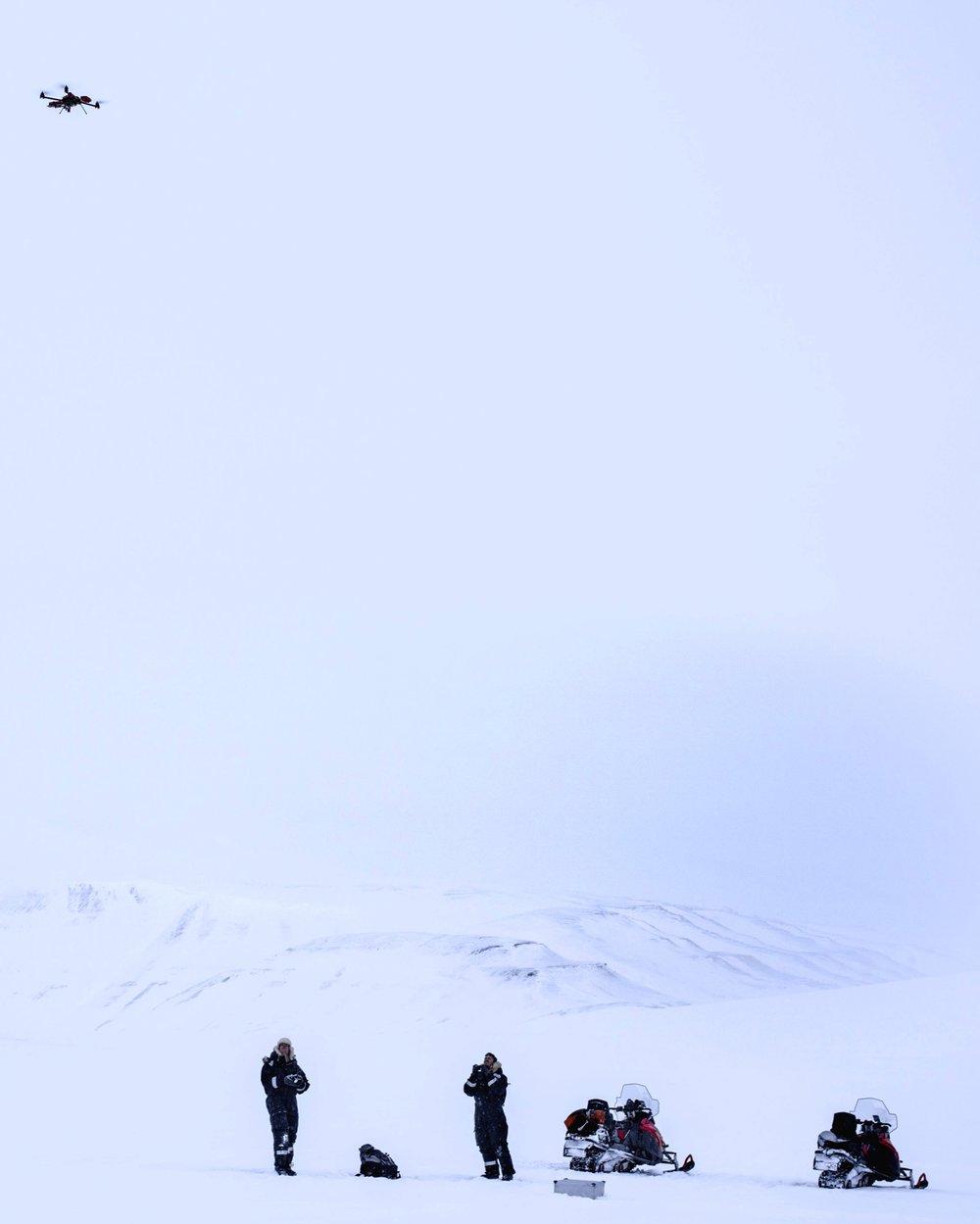Test flights during a pilot study in Svalbard in 2017 (ph Marc latzel/Rolex)