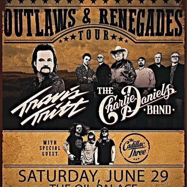 Tickets are on sale now for the #outlawsandrebelstour at the historic Oil Palace  on Saturday, June 29, 2019. @realtravistritt and @thecharliedanielsband with special guest @thecadillac3 ! Going to be a great night! Get your Gold Circle Premium tickets that include early entry to grab a seat in the new OPEC Bar area! Things are happening at the Oil Palace. . . . . #tyler #tylertexas #tylertx #tylertxphotographer #tylertxrealestate #tylertxhair #tylertxrocks #tylertxfoodie #easttx #easttxphotographer #easttxnights #rosecapital #easttexas #easttexaslife #easttexasmusic #travistritt #travistrittconcert #charliedaniels #charliedanielsband #thecadillacthree #thecadillac3 #oilpalace