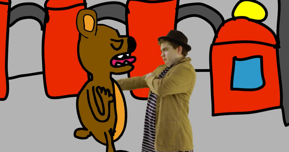 A factory boss argues with an illustrated bear. A still from short animation, Union Boss.