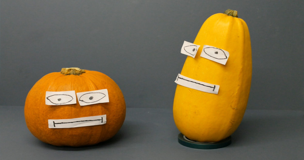 A pumpkin and a squash with drawn on eyes and mouths. A still from short animation Halloween Massacre.