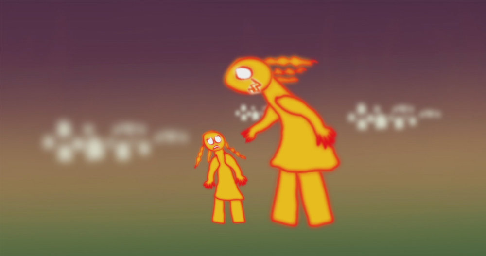 Two yellow animated characters from short film, Trauma Tales.