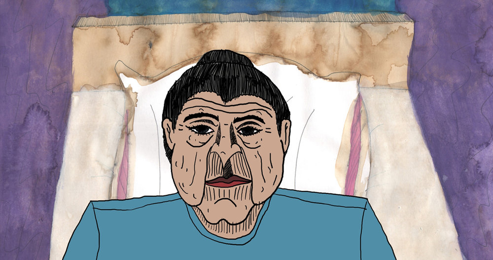 A grandma with her head on a pillow. A still from short animation, Odd Funeral.