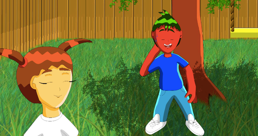 A boy with red skin chats to a girl. A still from an animation called Tomboy Episode 2.