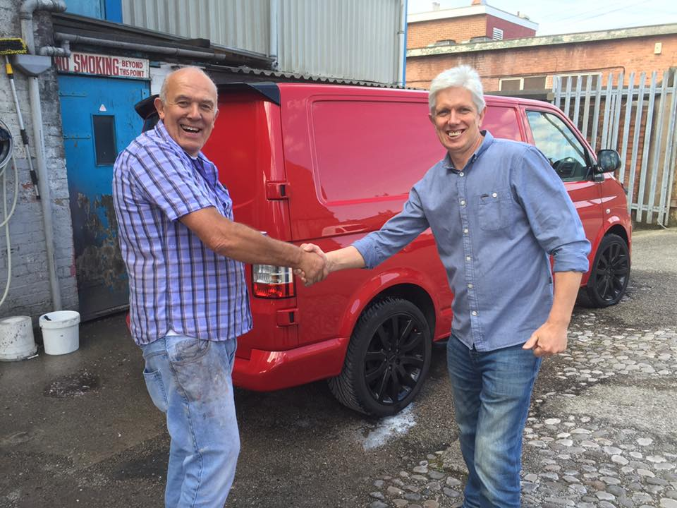 Sprayfit Preston owner Ian hands back a vehicle to another happy customer.