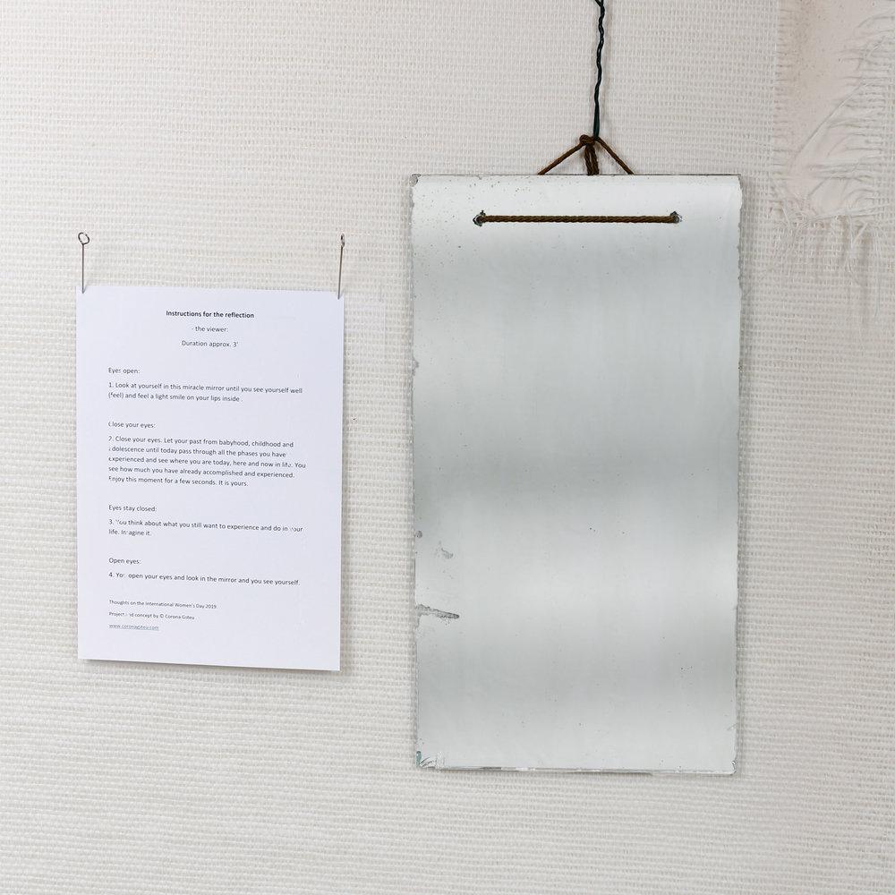 "Präsentation ""Handlungsanweisung für das Spiegelbild"",  presentation ""instruction for the reflection"" concept and project ©️ Corona Gsteu, Foto ©️Foto Fally"