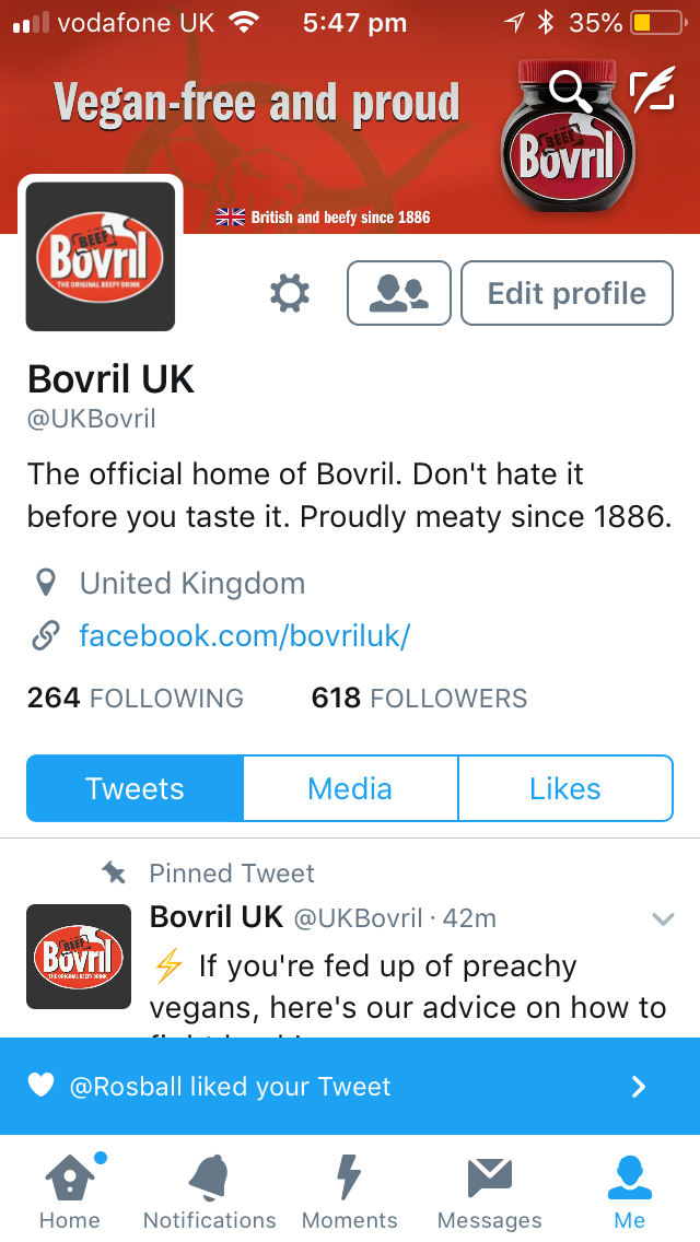 Bovril were sans a twitter account, so we easily made one for them.