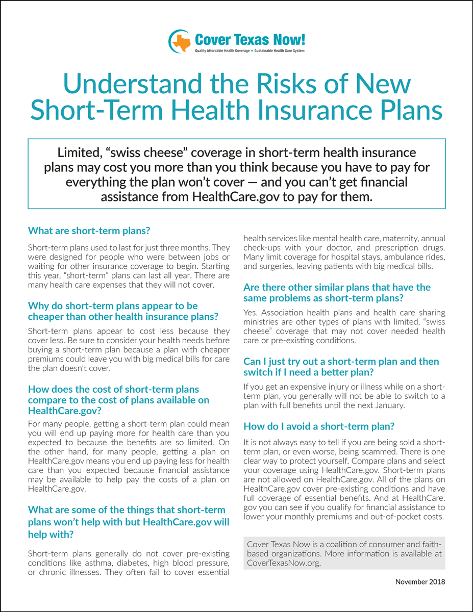 Understand The Risks Of New Short Term Health Insurance Plans