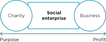 Social enterprises  take many forms and span between charities and for-profit enterprise on the business spectrum. They use a business model as a tool to solve social, environmental and economic problems.