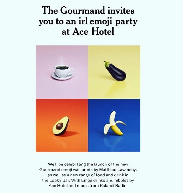 """🍹 Join @thegourmand at @acehotel in London for this irl emoji party ☕️ 🍆 🥑 🍌 (Google """"The Gourmand Lobby Bar Emoji Gallery Launch"""" for RSVP information)"""