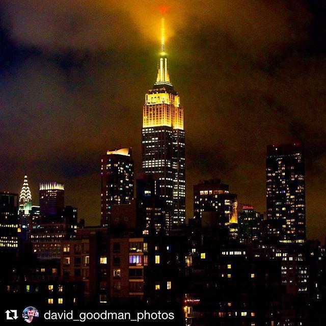 The @empirestatebldg glowing a beautiful emoji yellow for #WorldEmojiDay #July17 🌃💛🌌 #Repost @david_goodman_photos ・・・ The Empire State Building from My Rooftop - 7/17/17, 9:39 PM . Tonight the Empire State Building is Yellow in honor of World Emoji Day. 😀😜😉 . . . . #WorldEmojiDay #Emojipedia #EmpireStateBuilding #ESB #EmpireLights #Empire #EmpireStateOfMind #NewYorkStateOfMind #UpOnTheRoof #NYCskyline #Skyscraper #ArtDeco #ClassicNewYork #SummerInTheCity #DavidGoodmanPhotos #Photography #Cityscape #FineArtPhotography  #Photographer #StreetPhotography #PhotoOfTheDay #TeamCanon #CanonBringIt @empirestatebldg