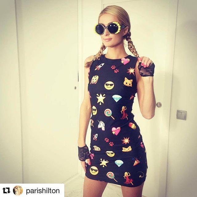 #tbt An emoji dress for #WorldEmojiDay designed by @parishilton 👸🏼🕶👗😍 #Repost @parishilton ・・・ In honor of #WorldEmojiDay I'm rocking the #Emoji dress I designed with @ShahidaParides. 💖🦄🍭💊💥😎🙈🐾🐱💃🏼💎🚀👸🏼🌟👑🎀