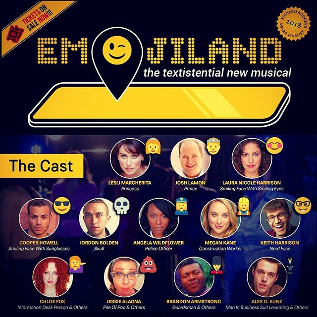 🌠 Emojiland is a musical premiering in New York City this #WorldEmojiDay / July 17. Cast includes 🤓 Nerd Face, 💀 Skull, 👮 Police Officer, 👷 Construction Worker and more. 🎟 Tickets just released 🙌