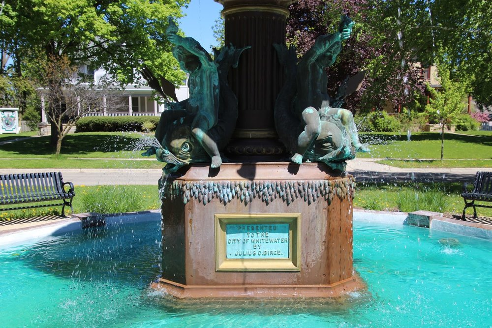 The Birge Fountain outside of the Cultural Arts Center on Main Street.